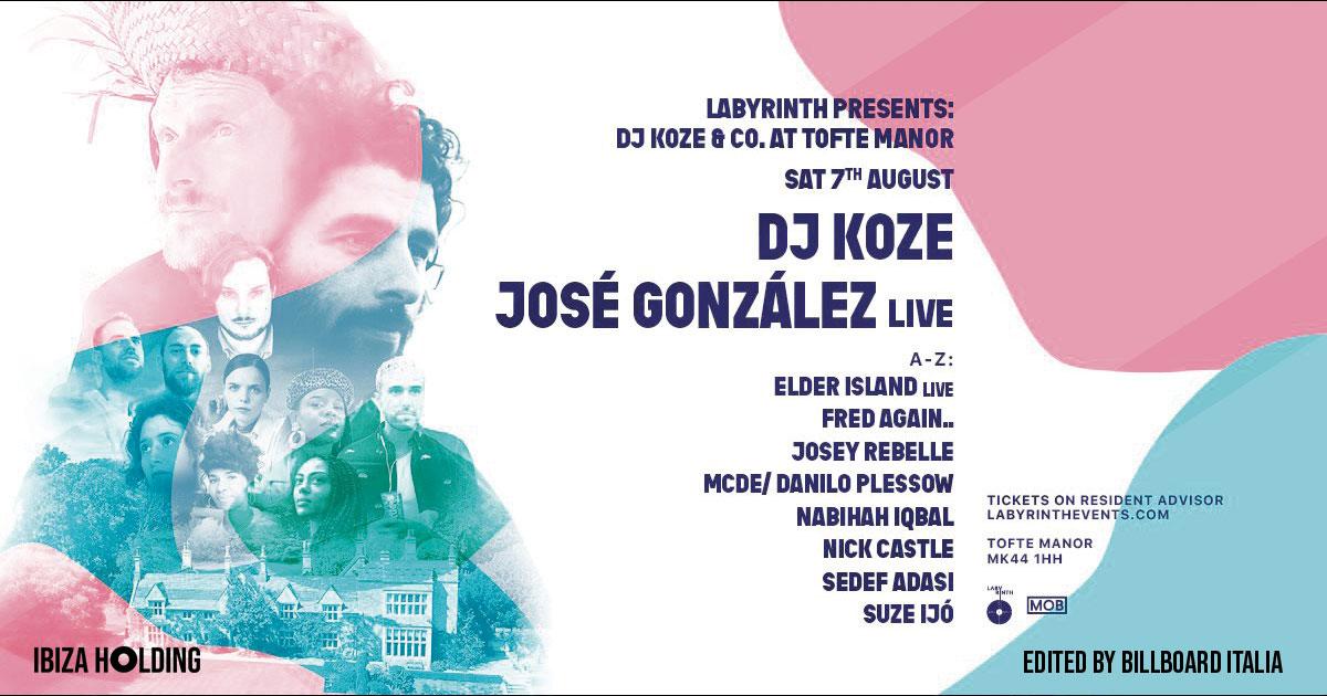 DJ KOZE y JOSÉ GONZALEZ ESTARÁN EL 7 AGOSTO EN TOFTE MANOR (UK)